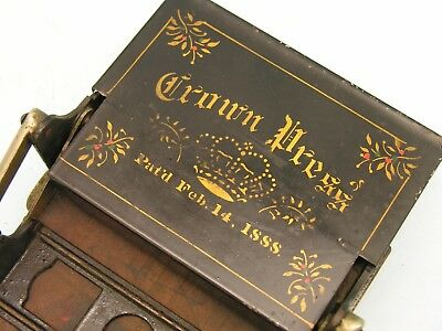 ~ 19th c Printing Press for Cards, Crown Press, Patented 1888 ~