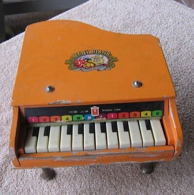 Vintage 1950's Working Beilei Orange Toy Grand Piano Made Shanghai China 12 Keys