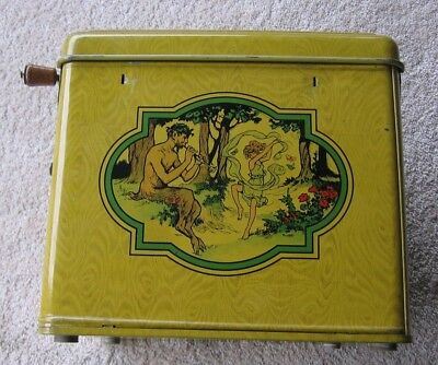 Vintage J Chein Tin Lithograph Melody Player Hand Crank Toy Piano Roll Music Box