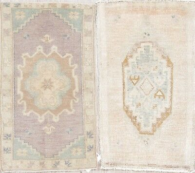 Package of 2 Antique-Washed Muted Color Oushak Turkish Pale Mauve 2x3 Wool Rug