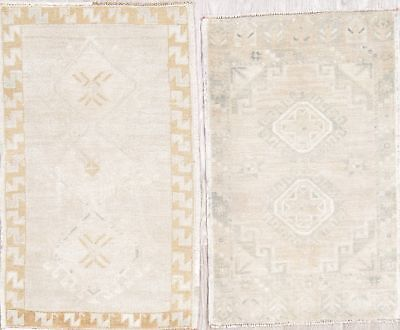 Package of 2 Antique-Washed Muted Color Oushak Turkish Hand-Knotted 2x3 Wool Rug
