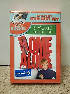 Home Alone 5-Movie Collection Exclusive DVD Gift Set Includes Socks BRAND NEW