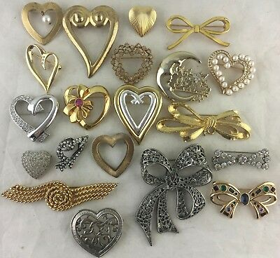 Vintage To Now Brooch Lot 20,heart,moon,pearl Bow,knot,silver/gold Tone,glass