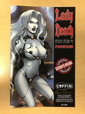 Lady Death Chaos Rules #1 Preview BLACK Variant Cover by Dheeraj Verma /100