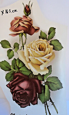 Ceramic Waterslide Transfers Decals for firing    CREAM & RED ROSES  21cm x 13cm