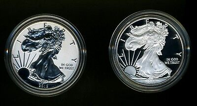 2012-S United States American Eagle Silver Dollar Two-Coin Set COA Proof Reverse