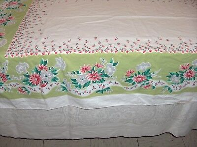 """Vintage Tablecloth White Pink Green Grey Flower Ribbon Design 51"""" x 67"""" Cutter?"""