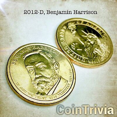 2012 D Benjamin Harrison Uncirculated US Presidential Golden Dollar Coin
