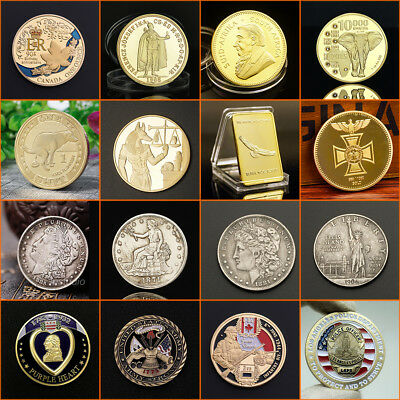 Retro/Modern Gold Silver Plated Commemorative Coin Challenge Coin Crafts Gifts
