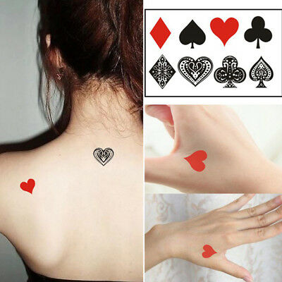5Pcs/Set Peach Heart Poker Waterproof Temporary Sleeve Tattoo Glitter Tattoos _F