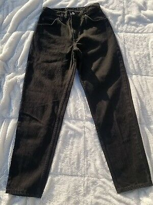 Womens Vintage Levis Black Orange Tab Relaxes Fit Tapered Leg 7 Short high waist