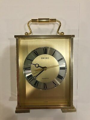 Vintage SEIKO Brass Carriage Quartz ALARM Desk Table CLOCK Made In Japan WORKS!