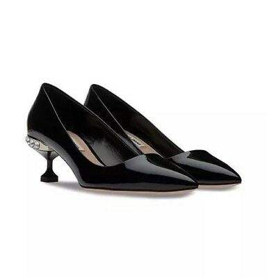 575b772386 MIU MIU Women's Black Patent Leather Crystal Calzature Closed Toe Pumps Sz  36.5
