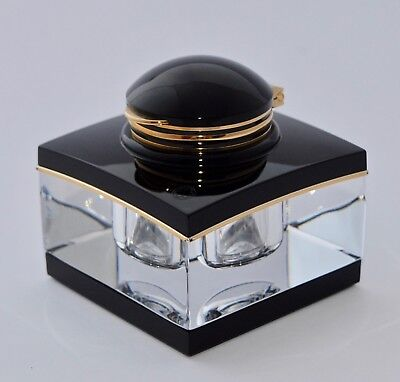 Montblanc Meisterstuck Tintenglass Black/Gold and Crystal Inkwell - Masterpiece
