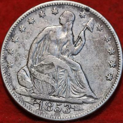 1853 Philadelphia Mint Silver Seated Half Dollar with Arrows & Rays