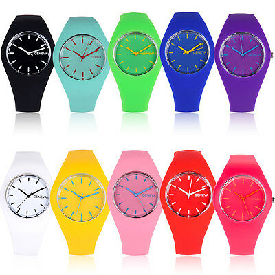 Geneva Soft Jelly Silicone Band Quartz Sports Girl Kids Wrist Watch Lovely