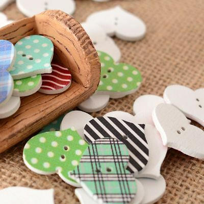 50Pcs Sewing Scrapbooking Stripe Dot Heart 2 Holes Wooden Buttons Fashion