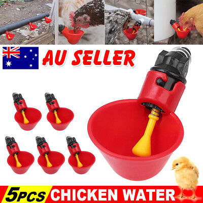 5pcs Automatic Cups Water Feeder Drinker Chicken Waterer Poultry Chook Bird Feed