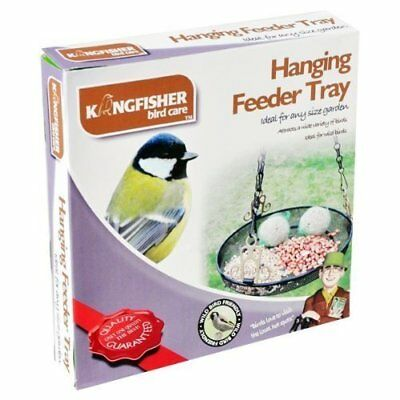 Kingfisher Hanging Metal Feeder Tray for Wild Birds - Black