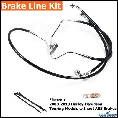 "Front +8"" Stainless Brake Line Kit For Harley Touring 14"" Handlebar No ABS 08-13"