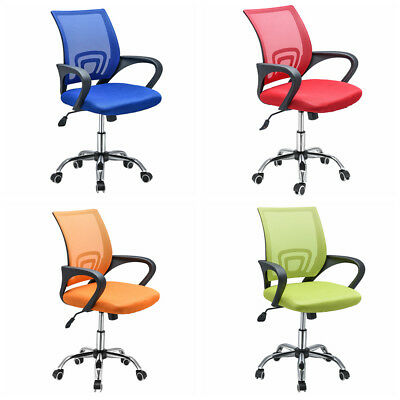Padded Computer Desk Office Chair Chrome Legs Gas Lift Swivel Small Adjustable