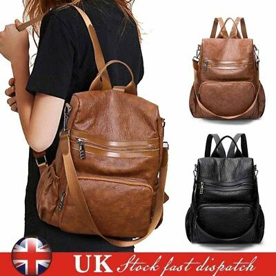 Women Leather Rucksack School Backpack Mummy Ladies Shoulder Bag Travel Handbag