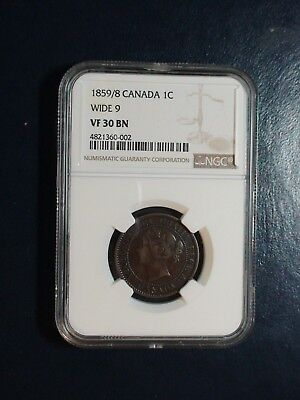 1859/8 Canada LARGE Cent NGC VF30 BN WIDE 9 1C Coin PRICED TO SELL NOW!