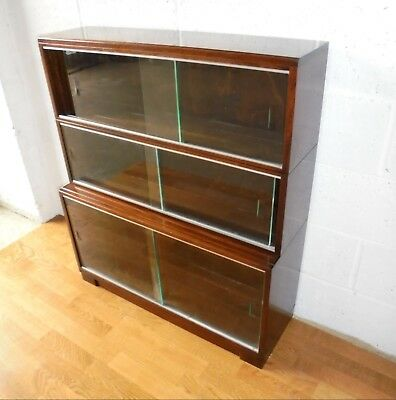 Vintage Minty Oxford 3 Tier Sectional Glazed Library Bookcase