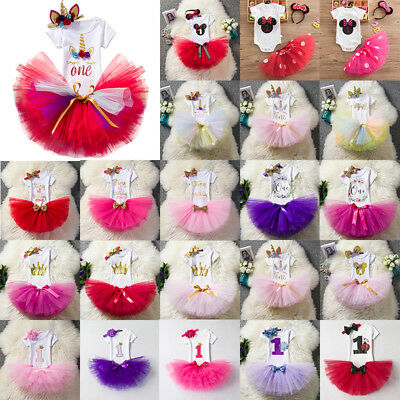 Baby Girls 1st Birthday Outfit Tutu Skirt Cake Smash Party Headband Dress Set AU