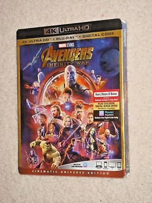 Avengers Infinity War (2018, 4K Ultra HD, Blu-ray, Digital Code) Factory Sealed