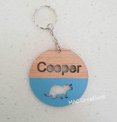 Children's Wooden Bamboo Personalised School Bag Tag - ANY NAME + DESIGN +COLOUR