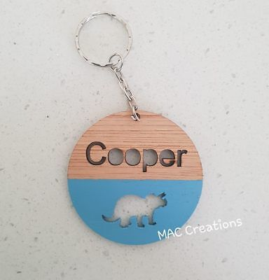 Children's Wooden Bamboo School Bag Tag -ANY NAME DESIGN COLOUR key ring keyring