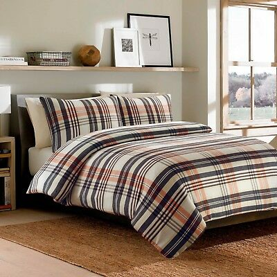 100% Brushed Cotton Duvet Quilt Cover Bedding Set Beige/Brown/Blue Flannelette