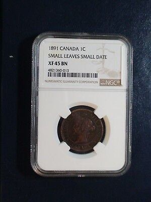 1891 Canada LARGE Cent NGC XF45 BN SMALL LEAVES SMALL DATE 1C Coin BUY IT NOW!