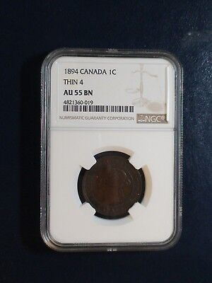 1894 Canada LARGE Cent NGC AU55 BN THIN 4 1C Coin BUY IT NOW!