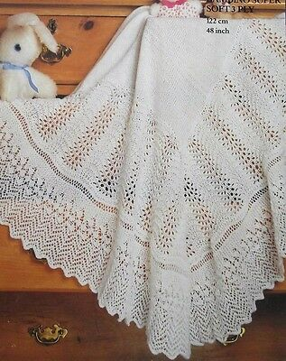 a70893729 KNITTING PATTERN - Beautiful Vintage Lace Patterned Baby Shawl In 3 ...