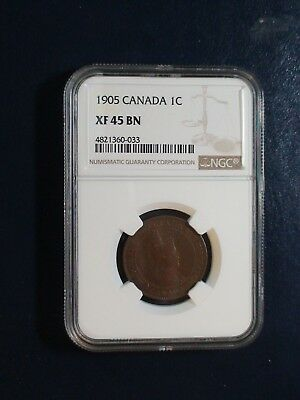 1905 Canada LARGE Cent NGC XF45 BN CIRCULATED 1C Coin BUY IT NOW!