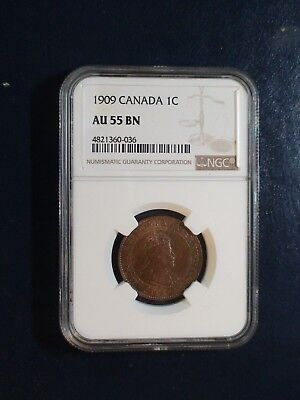 1909 Canada LARGE Cent NGC AU55 BN ABOUT UNCIRCULATED 1C Coin BUY IT NOW!