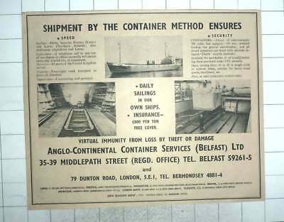 1959 Anglo Continental Container Services Belfast, Secure Shipments