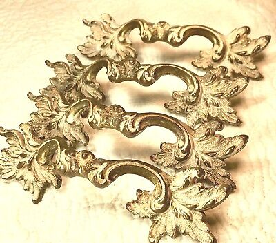 Keeler Brass Vintage French Provincial 4 large Drawer Pulls Solid Brass +extras!