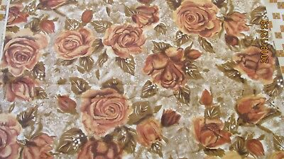 Vintage Cotton Fabric Gold & Brown Roses