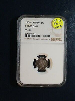 1900 Canada Five Cents NGC VF35 RARE LARGE DATE SILVER 5C Coin PRICED TO SELL!