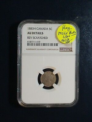1883 H Canada Five Cents NGC AU SILVER KEY DATE 5C Coin PRICED TO SELL!