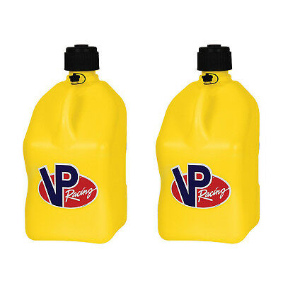 VP Racing 5 Gallon Motorsport Racing Fuel Utility Jug Gas Can, Yellow (2 Pack)
