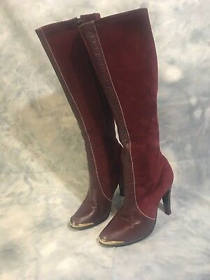 VTG Fancy Burgundy 70's Suede And Leather Gold Toe Boots Sz 7.5 Made In England