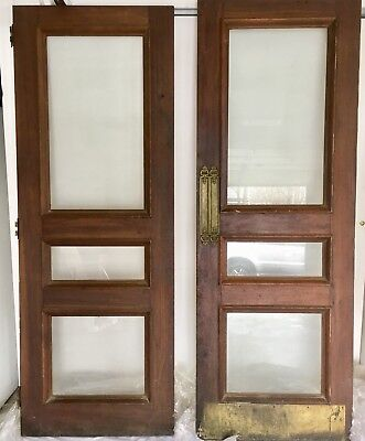 RARE** Antique Solid Mahogany & Brass Glass Pane Doors-1920's Old INN