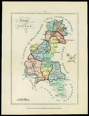 1776 IRELAND - Engraved Antique Map of KING'S COUNTY with original colour