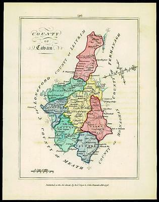 1776 IRELAND - Engraved Antique Map of COUNTY OF CABAN with original colour