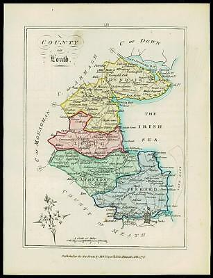 1776 IRELAND - Engraved Antique Map of COUNTY OF LOUTH with original colour