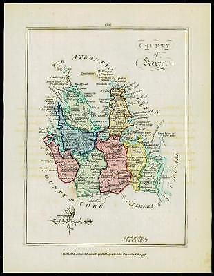 1776 IRELAND - Engraved Antique Map of COUNTY OF KERRY with original colour